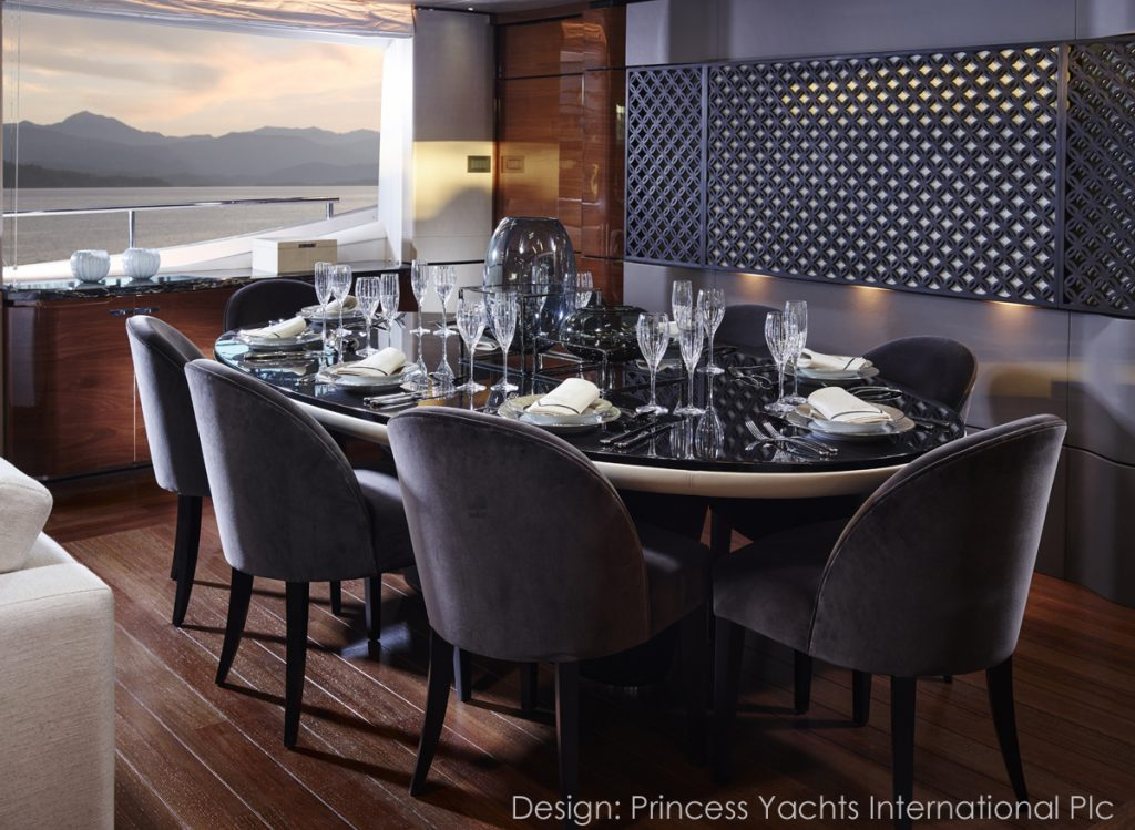 Fine Ornamental Woodwork Panel Princess Yachts 30M Dining Area