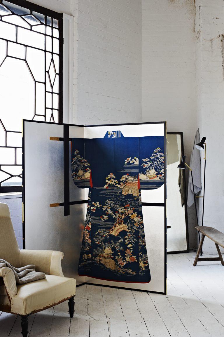 Kimono Screen with the 19th century antique kimono on silver leaf background installation