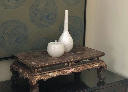 Incense stand with mother of pearl inlays