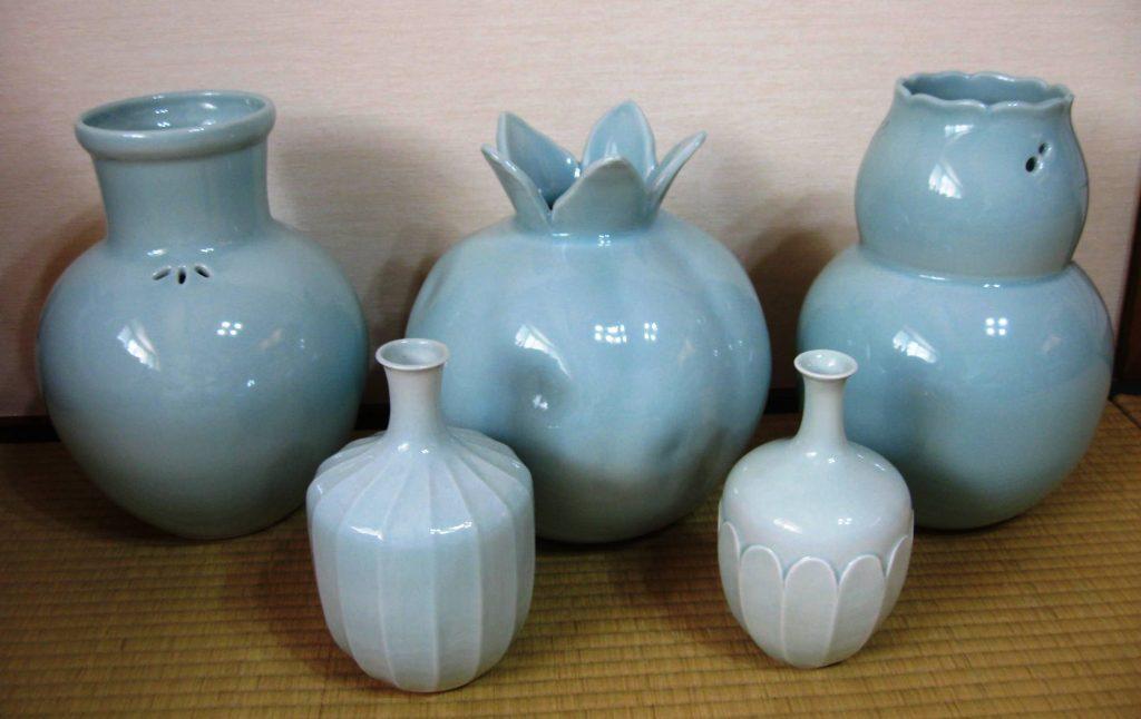 Celadon Vases by Gazen Kitamura