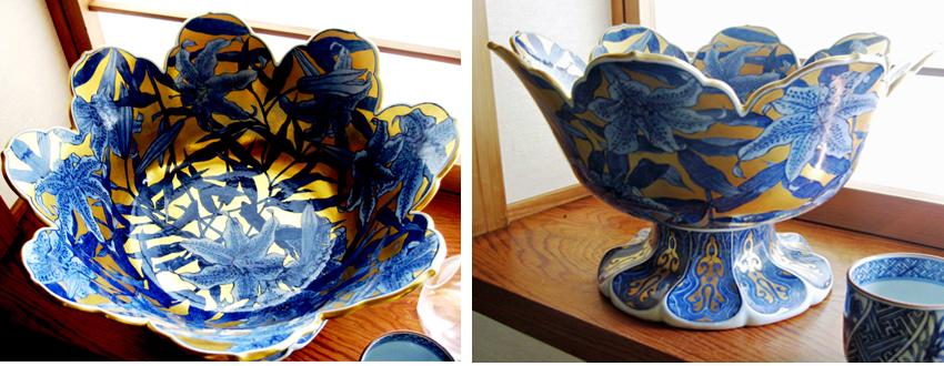 Gold lily bowl by Gazen Kitamura