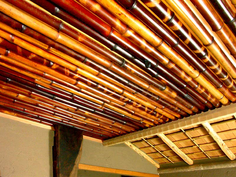 ceiling cladded with smoked bamboo
