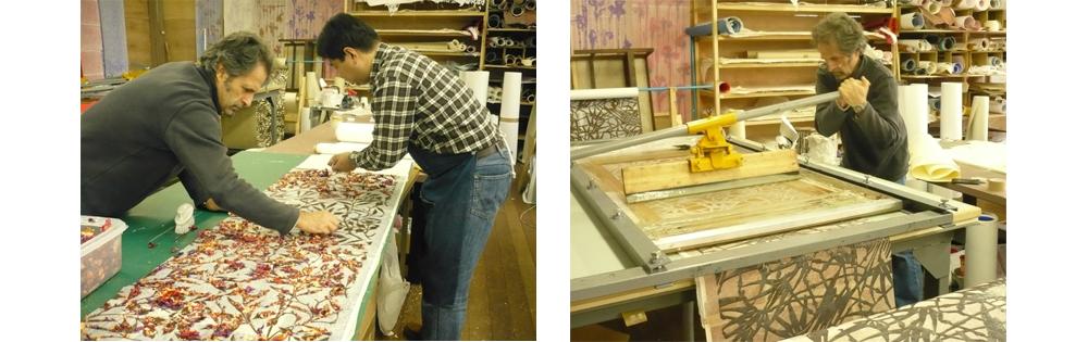 Making of gilded washi wallpaper