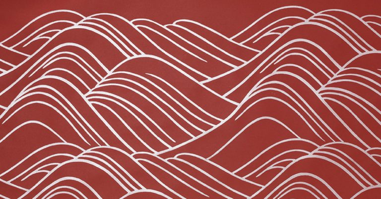Wave Berry, Block Printed Paper collection